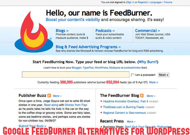 Google FeedBurner Alternatives
