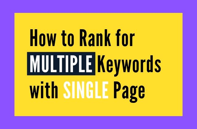 How to Rank for Multiple Keywords